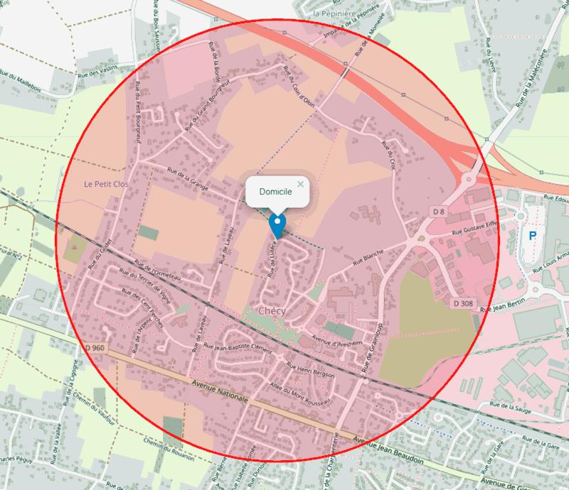 Confinement, Carte de la zone de sortie autour de mon domicile