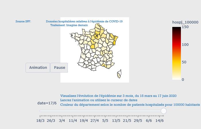 Visualisation dynamique de l'épidémie sur 3 mois, du 18 mars au 17 juin