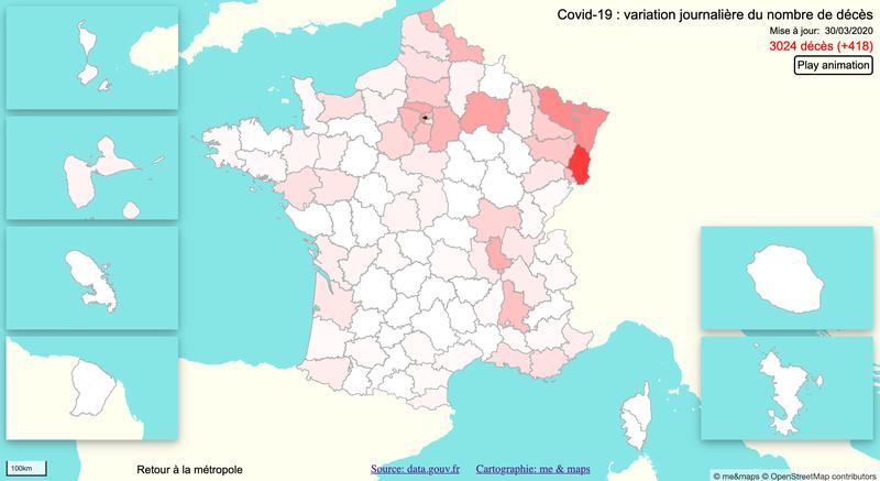 Covid-19 : variation journalière du nombre de décès