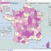 Cartographie des temps d'accès aux généralistes libéraux par département