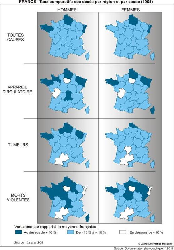 Cause de décès en France, par régions en 1995