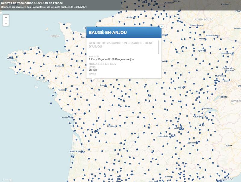 Localisation des centres de vaccination COVID-19 en France