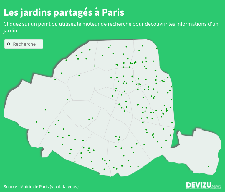 Carte des jardins partagés à Paris