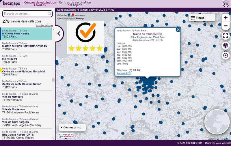 Carte interactive - Centres de vaccination contre la COVID-19