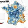 Carte des prix moyens au m² par commune des ventes de maisons et d'appartements en 2020