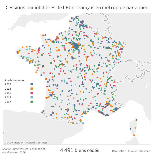 Cessions immobilières de l'Etat français entre 2013 et 2017
