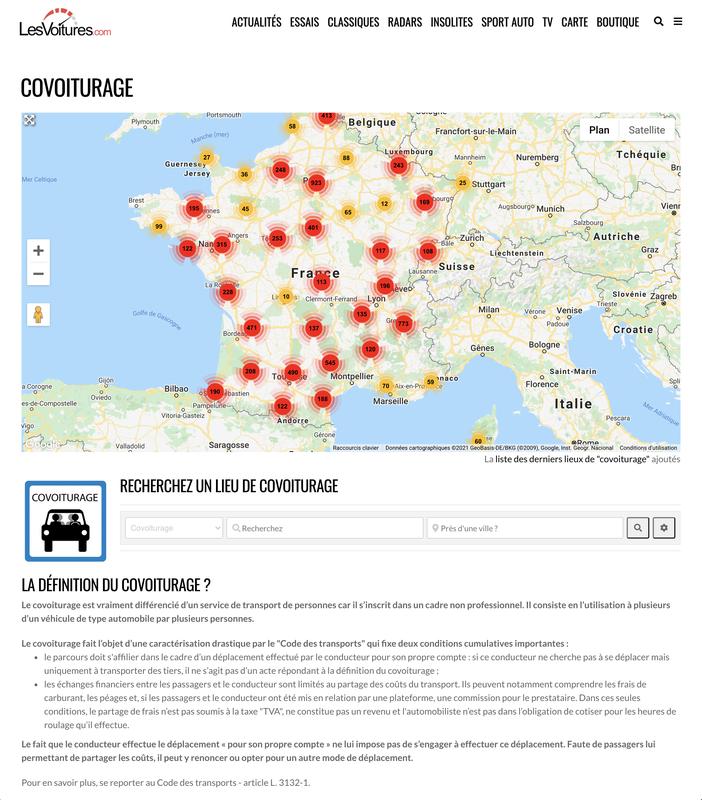 Covoiturage : carte des aires en France