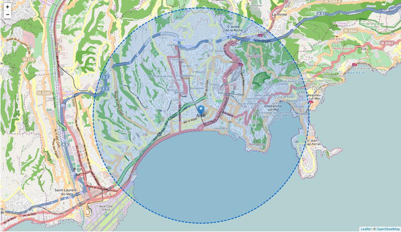 Carte qui calcule le rayon de 5 km autour de chez moi pour le confinement