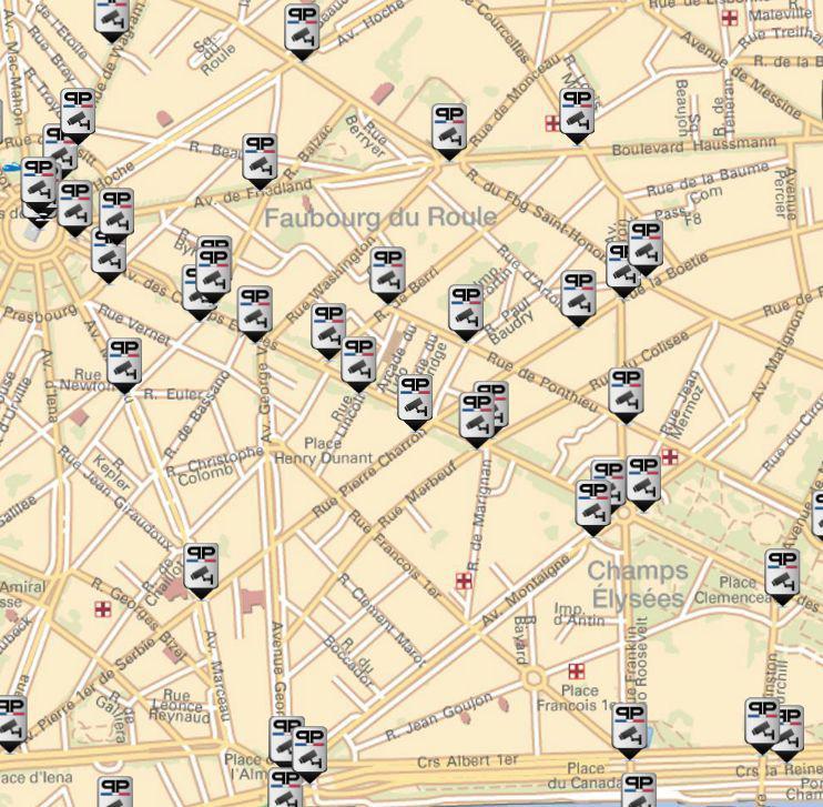 Visualisation dynamique sur le Géoportail des caméras de vidéoprotection de la Préfecture de Police de Paris