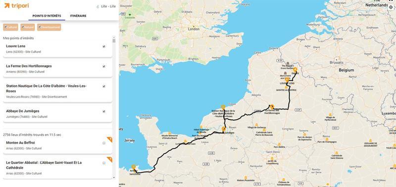 Tripori - planificateur de road trip en France