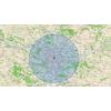 Carte qui calcule le rayon de 30 km autour de chez moi pour le confinement
