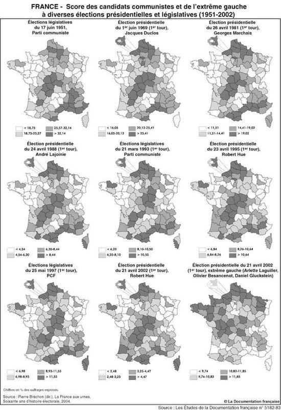 Élections présidentielles et législatives de 1951 à 2002 : résultats du communisme et de l'extrême gauche