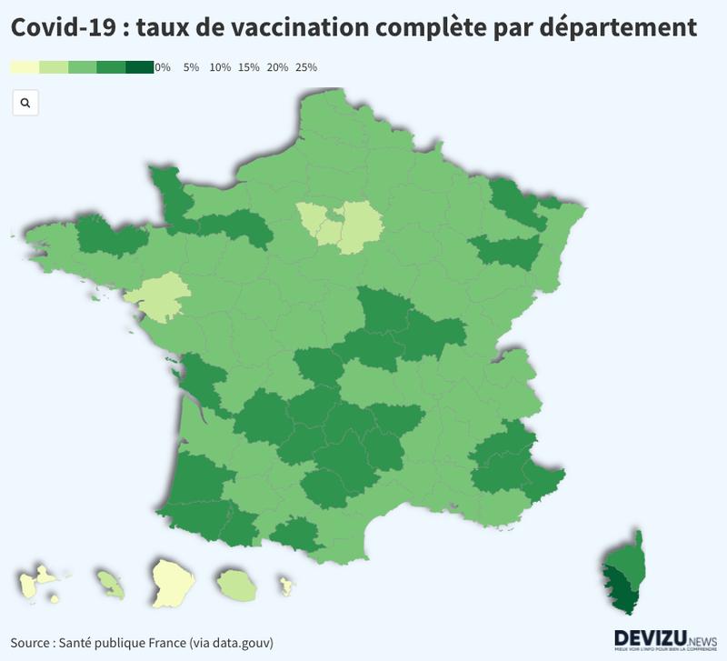 L'évolution de la vaccination par département