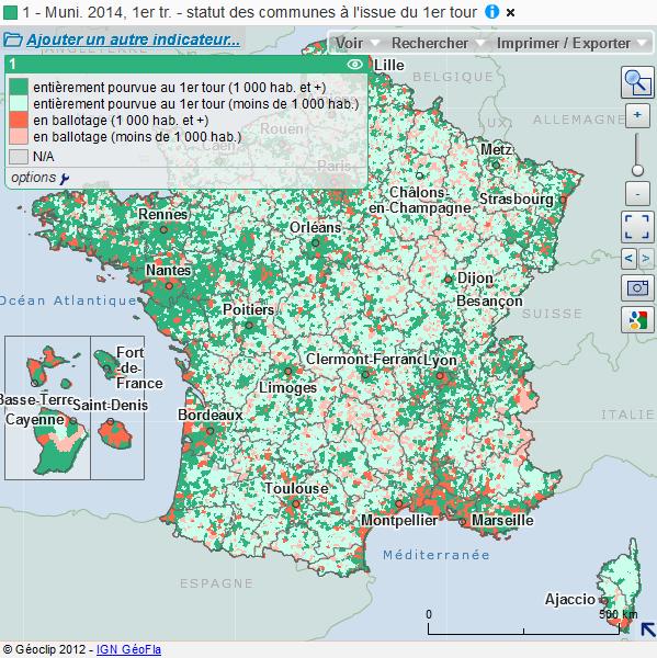 Typologie des communes à l'issue du 1er tour des municipales 2014
