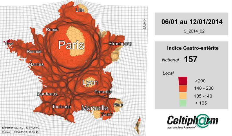 Version animée des cartogrammes de l'incidence de la gastro-entérite