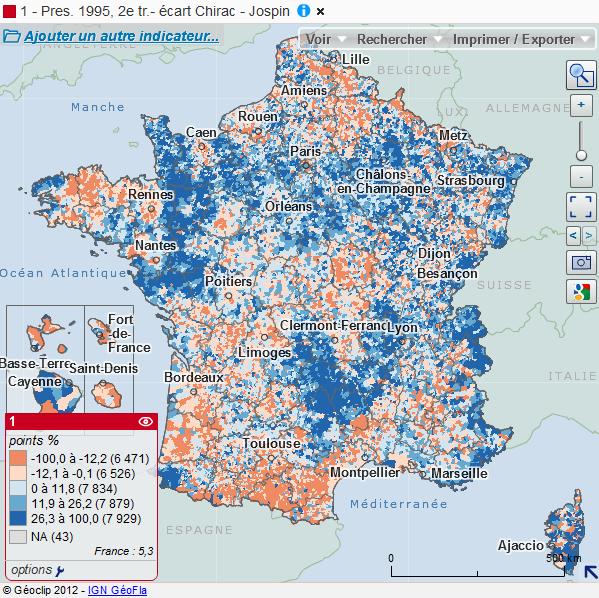 Cartographie nationale des résultats de l'élection présidentielle de 1995