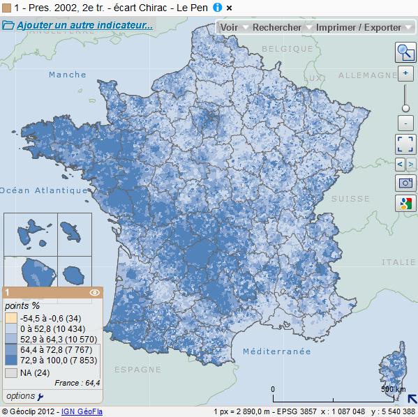 Cartographie nationale des résultats de l'élection présidentielle de 2002