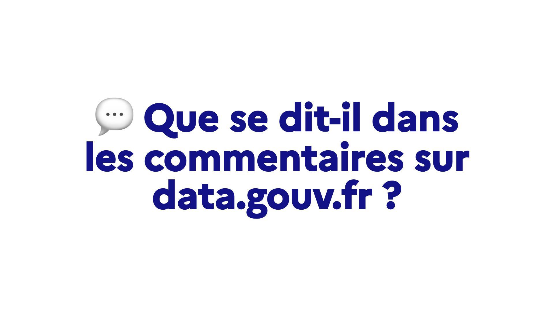 Que se dit-il dans les commentaires sur data.gouv.fr ?