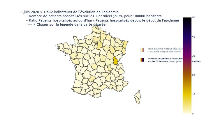 Deux indicateurs de tension  de l'épidémie dans les départements  - MAJ 3 juin 2020