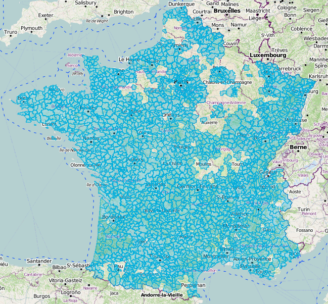 Visualisation des EPCI présents dans OpenStreetMap