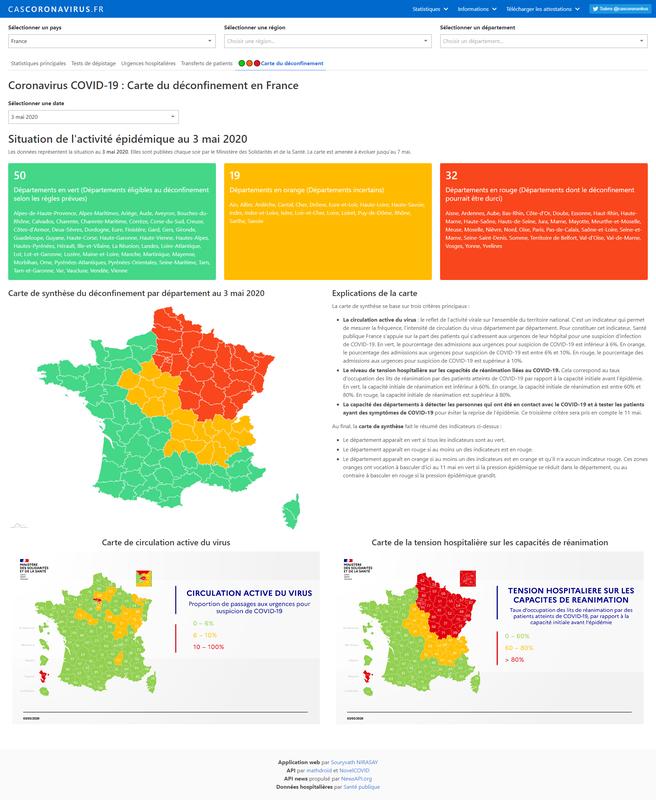 Coronavirus COVID-19 : Carte du déconfinement en France