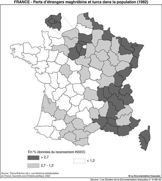 Population maghrébine et turque en France en 1982
