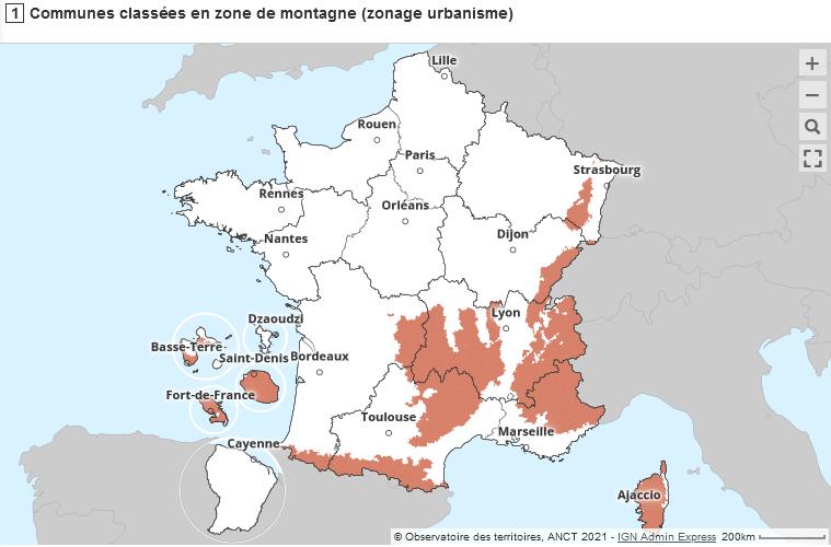 Carte interactive des communes de montagne au titre du droit de l'urbanisme