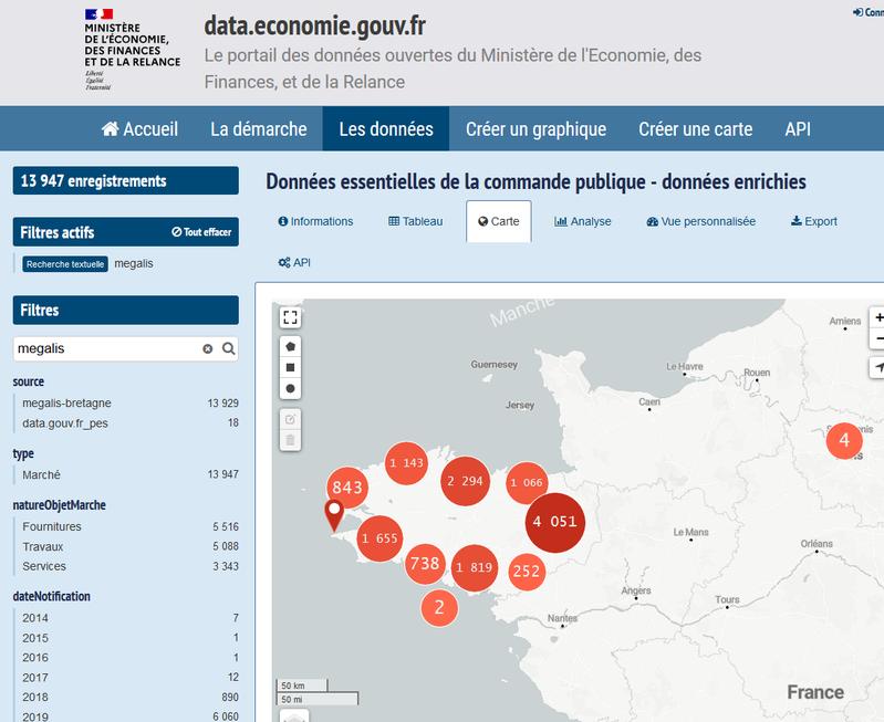 Cartographie des données enrichies de Mégalis Bretagne sur data.economie.gouv.fr
