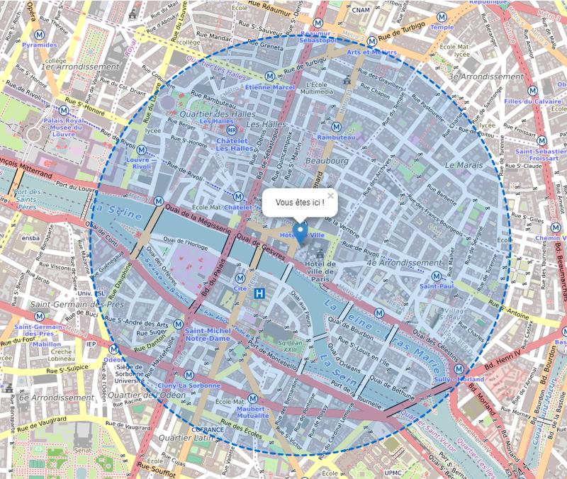 Carte du rayon de 1 km autour de chez moi pour le confinement
