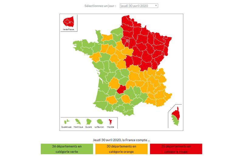 COVID19 - Carte de France du déconfinement