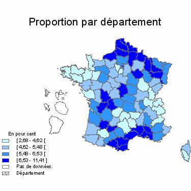 Carte de France du taux d'allocataires