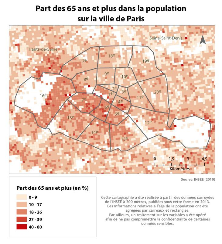 Cartographie de la part des 65 ans et plus dans la population de Paris