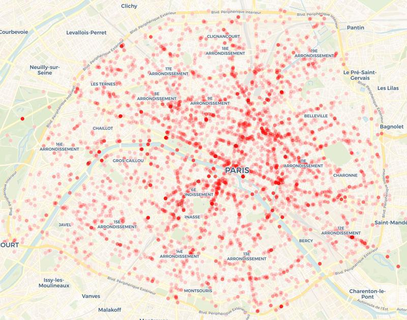 Carte des accidents ayant impliqué un vélo avec un autre utilisateur de la route (piéton, voiture...) entre 2005 à 2015.