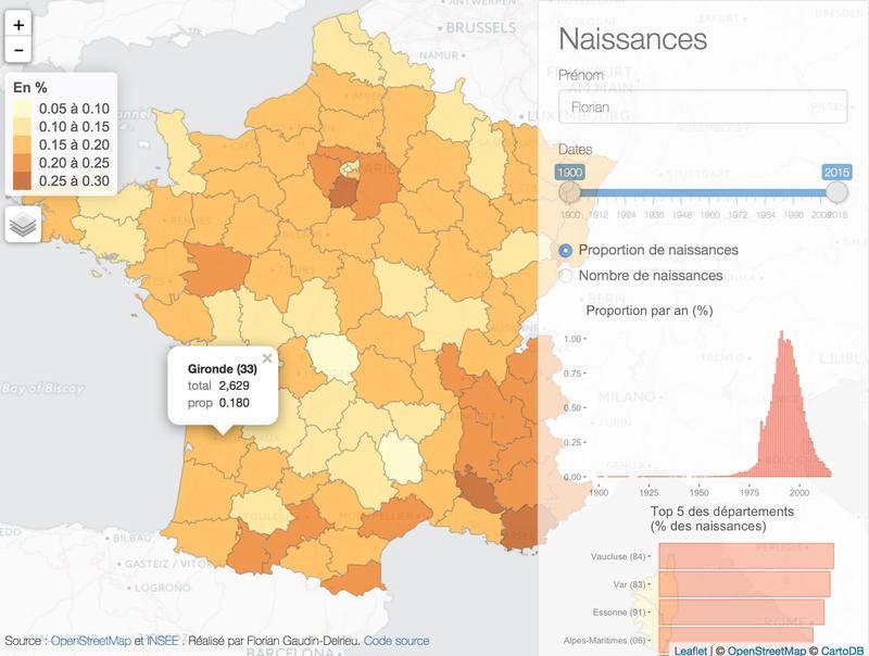 Carte interactive des prenoms