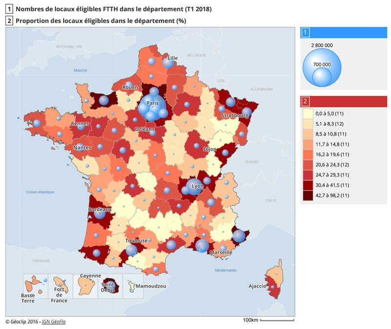 Cartographie de la couverture FTTH en France à l'échelon départemental et régional (T1 2018)