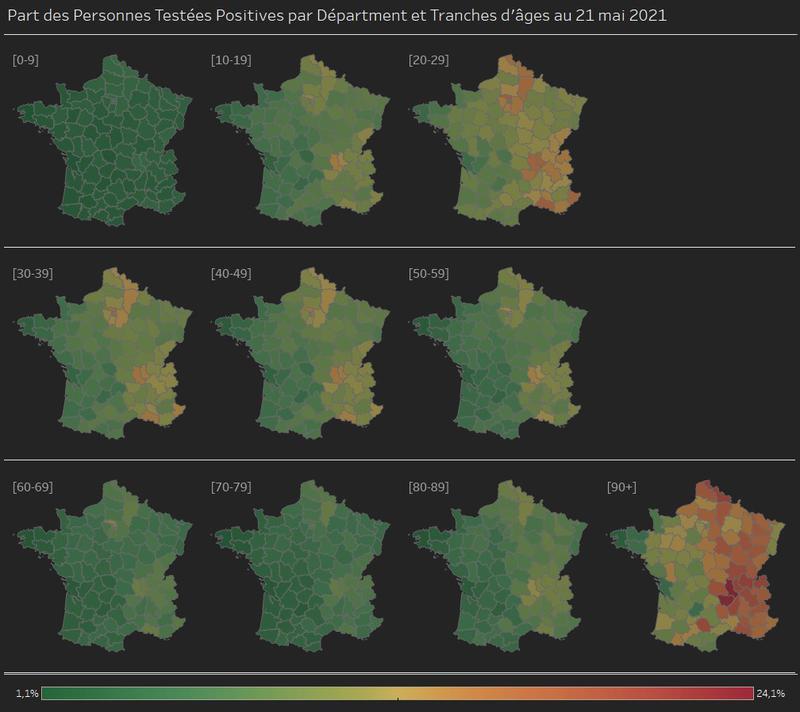 Part des personnes testées positives au COVID en France par départements et par tranches d'âge