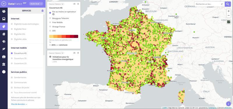 Carte de couverture du réseau 4G en France