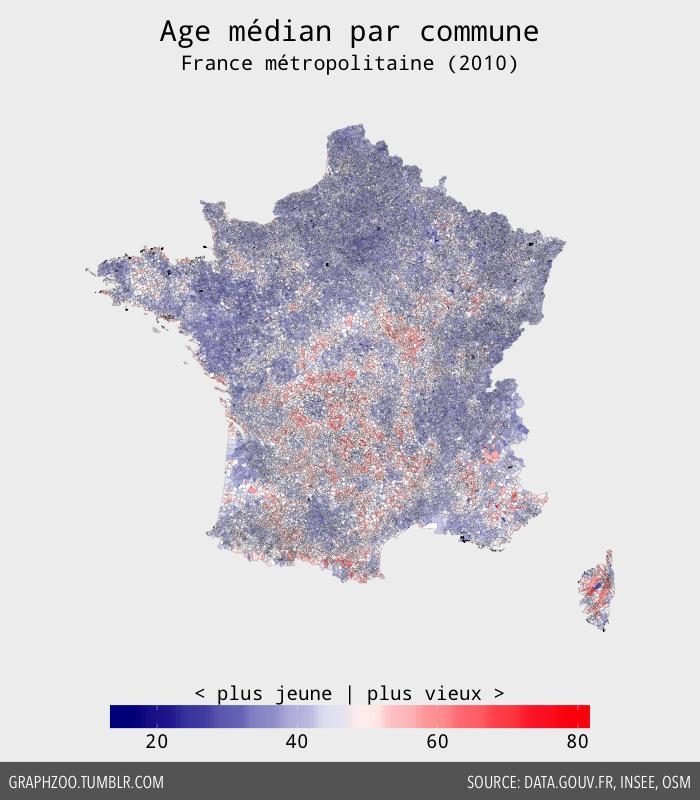 Age médian par commune en France métropolitaine (2010)