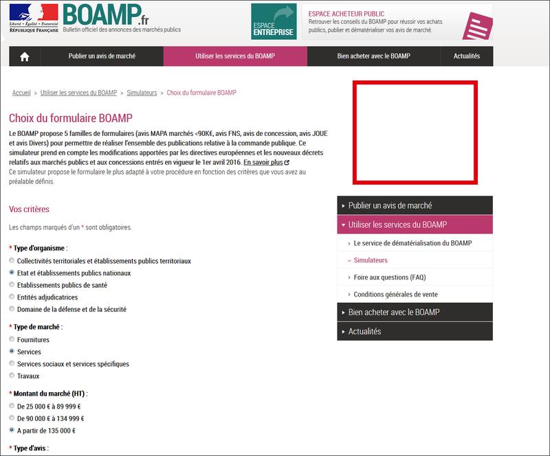 SIMULATEUR DE CHOIX DE FORFAIT POUR PUBLIER AU BOAMP