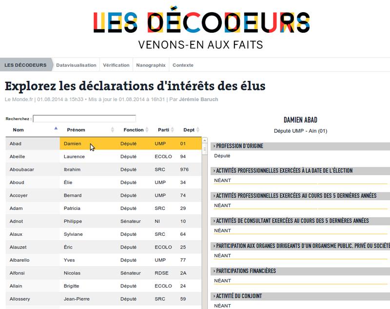 LeMonde.fr - Outil d'exploration des déclarations