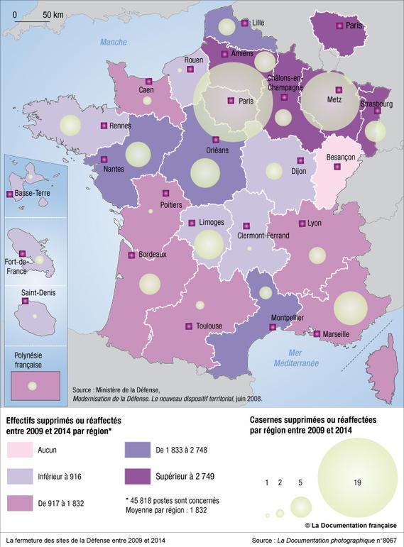La fermeture des sites de la Défense entre 2009 et 2014