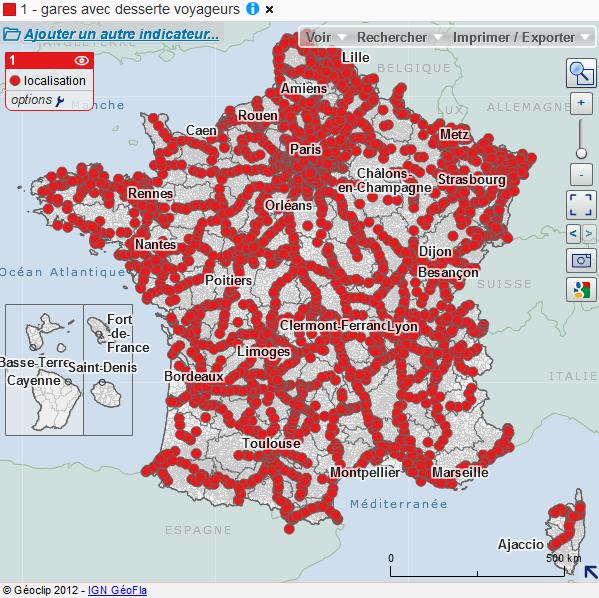 carte des gares avec desserte de voyageurs en France