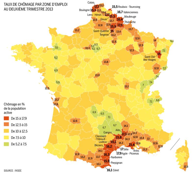Le chômage frappe surtout le Languedoc-Roussillon et le Nord-Pas-de-Calais