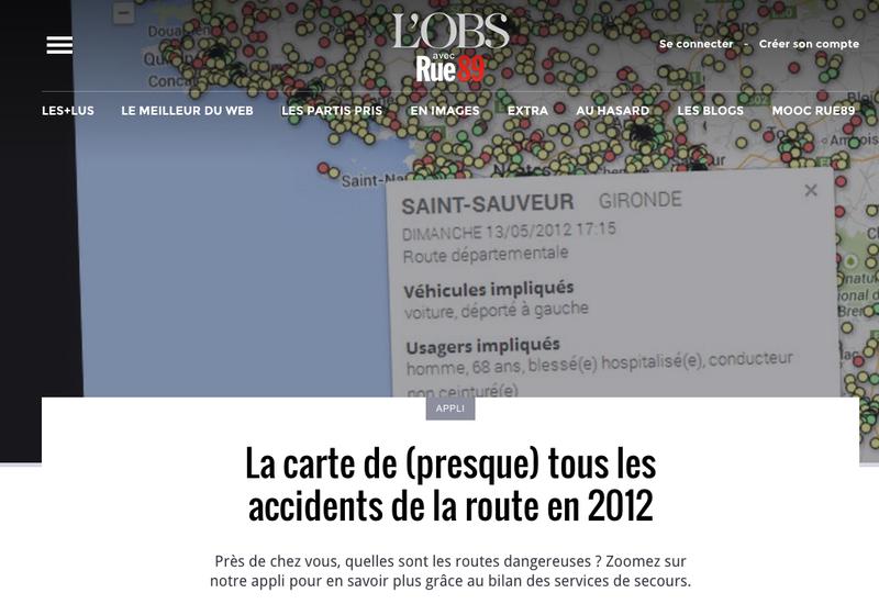 Rue89: La carte de (presque) tous les accidents de la route en 2012