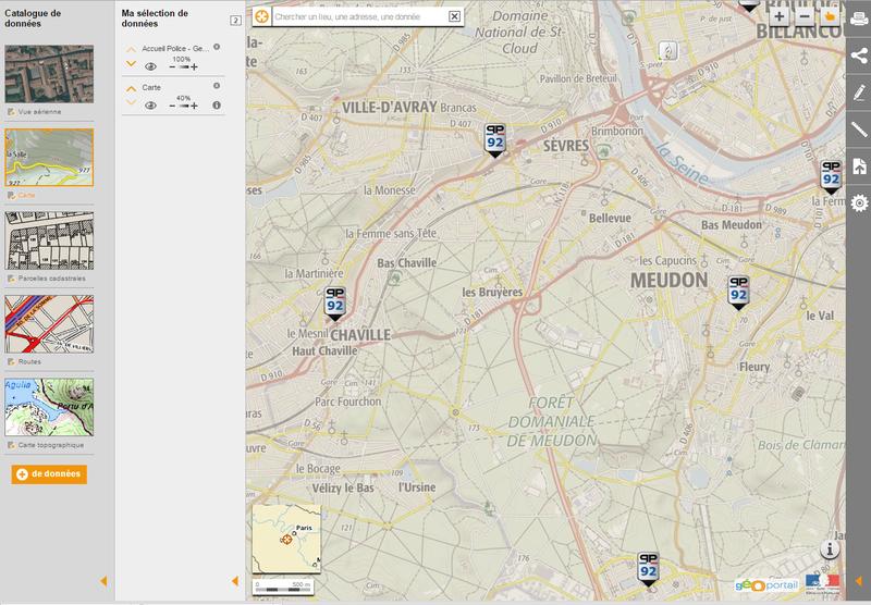 Visualisation Géoportail des accueils Police et Gendarmerie du RGE