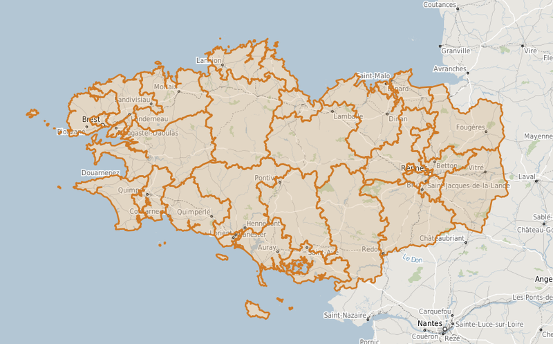 Carte des circonscriptions législatives en Bretagne