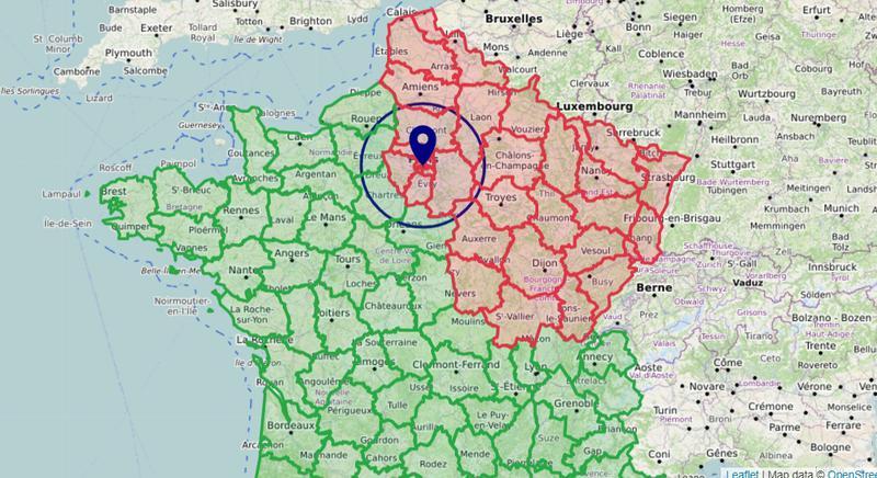 Carte déconfinement 100 km - Zone de sortie de confinement dans un rayon de 100 km autour son domicile, à vol d'oiseau