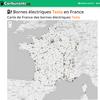 Carte de France des Superchargers et  Recharges à destination Tesla