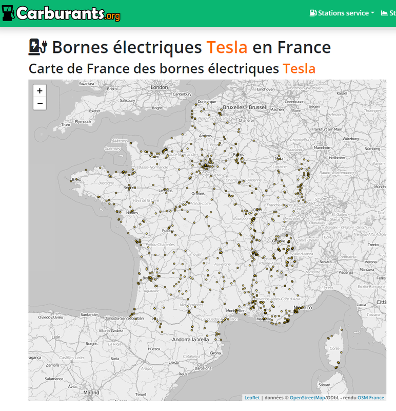 Carte de France des Superchargers et  Recharges à destination Tesla