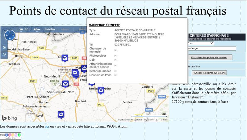 Géolocalisation des points de contacts